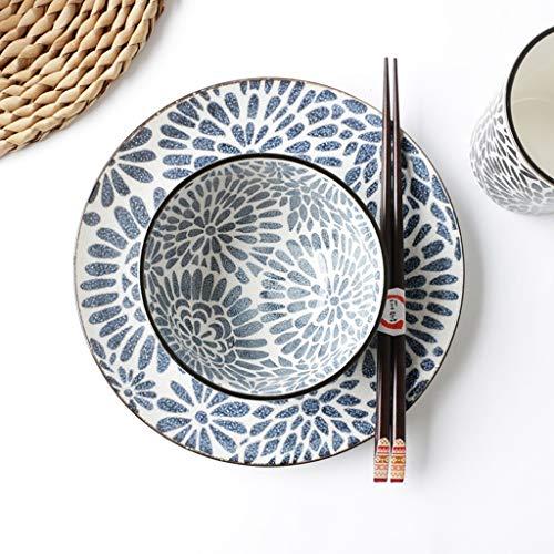 LI Teller- Kaufen Sie eine Platte, um die gleiche Schüssel zu senden - Home Round Keramik Blumenmuster Steak Sushi Pastateller (1 Packung) Tableware (größe : M)