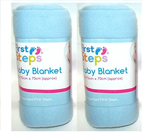 FS403 2 x First Steps Soft Fleece Washable Baby Blanket 70cm x 70cm 0M   Blue