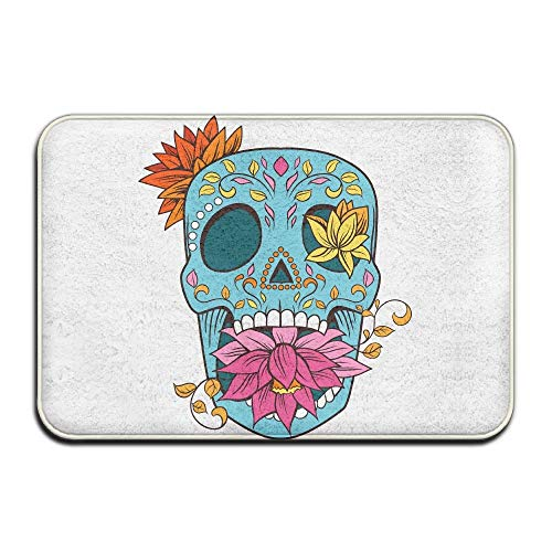 Klotr Fußabtreter, Home Door Mat Sugar Skull Floral Doormat Door Mats Entrance Rugs Anti Slip 40x60 cm for Indoor Outdoor