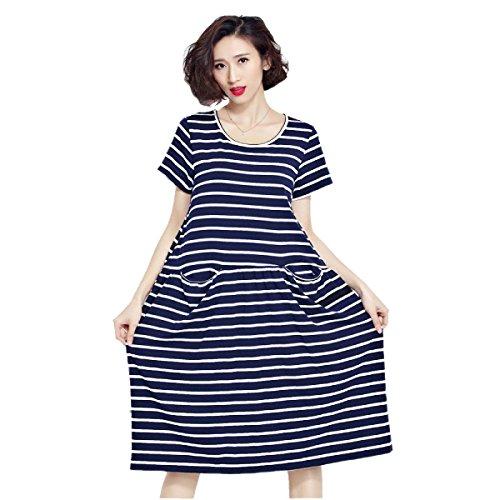 HGDR Frühling Und Großes Lose Art Und Weise Kleid Der Sommerfrauen Blue