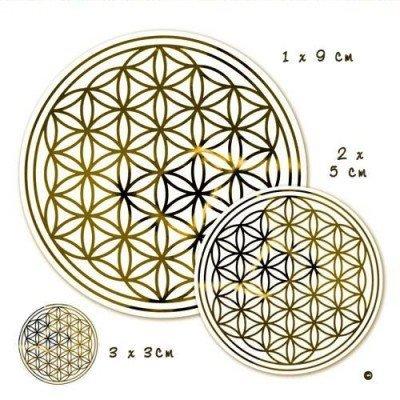 Fiore della Vita-Set di adesivi M-oro-3x Ø 3cm, 2x Ø 5cm, 1x Ø 9cm