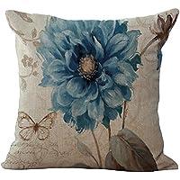 ChezMax misto lino naturale cuscino motivo floreale in cotone federa copricuscino 45,7x 45,7cm, Blue Flower, WITH FILLER