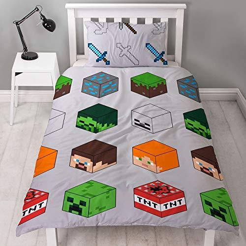 Minecraft Pixel Bettbezug für Einzelbett, offizielles Lizenzprodukt, wendbar, zweiseitiges Creeper & TNT-Design, mit passendem Kissenbezug, Polyester, Grün