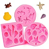 3PCS Seashell y Sea Animal Moldes de Silicona Moldes Herramientas Hechas A Mano Caramelo de Chocolate Fondant Cake Decoration Fondant Mold Silicone Baking Cake Chocolate Molds Rosa