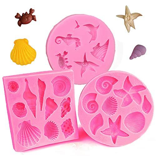 3 Stück Silikonform Seashell Sea Shell Fondant Mold Conch Meer Tierform Kuchen Dekorieren Schokoladenform DIY Handgefertigt Tools