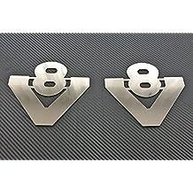 2x V8insignias para camiones Scania todas las Series de acero inoxidable pulido decoración accesorios