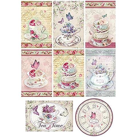 Carta di riso A4 Targhette Tea Time © Stamperia DFSA4078