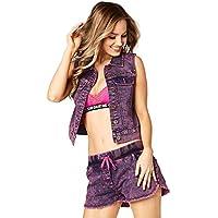 Zumba Fitness® Get Wild Denim Vest Mujer Tops, Todo el año, Mujer, Color Shocking Pink Denim Daze, tamaño Small