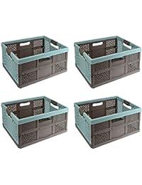Klappbox Muster Einkaufskorb versch Meori Faltbox 15L Kakao Braun Klappkorb