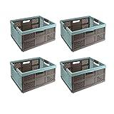 4 x keeeper Stabile Profi-Klappbox mit Soft-Touch Griffen, 48 x 34,5 x 23,5 cm, 32 l, Lea, Blau/Taupe