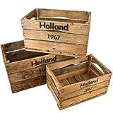 Holzkisten 3er Set Holland 67 Motiv Vintage-Used Design 44-51-58cm braun Weinkisten Landhaus Kolonial