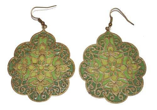 vintage-style-antique-bronze-brass-green-enamel-disks-drop-hook-earrings-boho-retro-fashion-jeweller