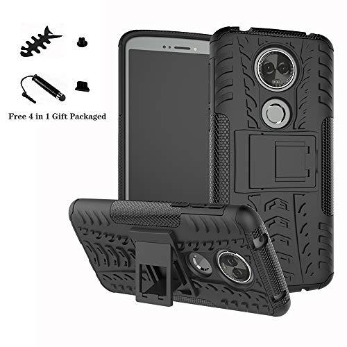 LiuShan Moto E5 Plus Hülle, Dual Layer Hybrid Handyhülle Drop Resistance Handys Schutz Hülle mit Ständer für Motorola Moto E5 Plus Smartphone(mit 4in1 Geschenk verpackt),Schwarz