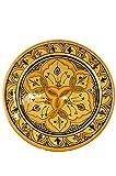 Orientalische Keramikschale Keramikteller Rund Alima Ø 34cm Groß | farbige marokkanische Keramik Schale Teller bunt aus Marokko | Orient große Keramikschalen flach Geschirr orientalisch handbemalt