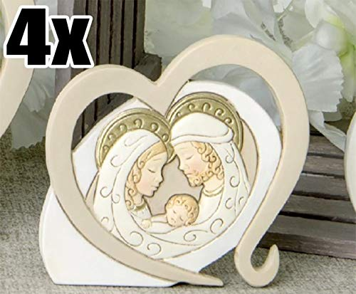4 pezzi icona amore sacra famiglia in resina bomboniera nascita comunione