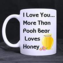 Romantic Valentine's Day Gifts Love Quotes/Saying I Love You More Than Pooh Bear Loves Honey Tea/Coffee/Wine Cup 100% Ceramic 11-Ounce White Mug by Personalized Printing 4U
