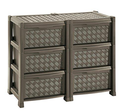 Tontarelli arianna cassettiera con 6 cassetti doppia, wengè, 78x49.5x63.5 cm