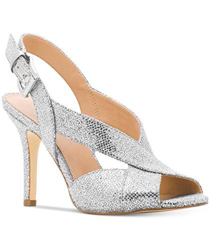 MICHAEL Michael Kors Woman's Becky Sandal Silver Glitter Size 7.5