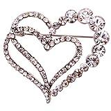 Yazilind cadeau de bijoux en argent plaque Glaring cristal Jolie Amoureux Broches coeur et Pins cru pour et filles