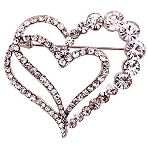 YAZILIND Jewellery Gift Silver Plated Glaring Crystal Pretty Loving Heart Brooches and Pins Vintage for Women Girls