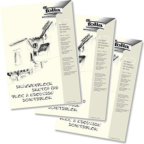 3er Pack Folia 8304 - Skizzenblock, 120 g/m², DIN A4, 50 Blatt