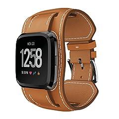 Idea Regalo - YaYuu Fitbit versa Cinturino pelle, Braccialetto di ricambio in vera pelle Bracciale Braccialetti accessori per cinturini Fitbit Versa Fitness Smart Watch