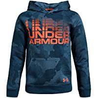 Under Armour, Rival Wordmark Hoody, Felpa, Bambino, Blu (Techno Teal/Magma Orange), L