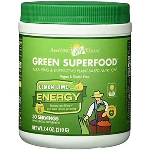 Amazing Grass, Green SuperFood, Lemon Lime Energy Drink Powder, 7.4