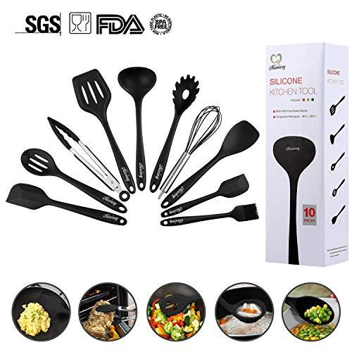 Mirviory silikon küchenhelfer,Hochwertige Hitzebeständige,EinfachZu Reinigen silikon löffel silikon schneebesen Set,Antihaft Topf küchenutensilien (10 Black)