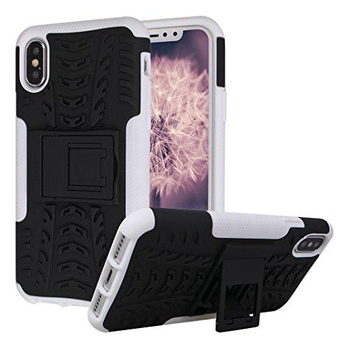 iPhone X Hülle, iPhone 10 Cover, Rosa Schleife Heavy Duty 2 in 1 Armor Handyhülle Plastik und TPU Silikon Schutzhülle Stoßfeste Holster Abdeckung mit Stand für iPhone X / 10 Grün Weiß