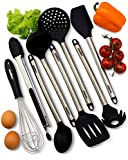 Kitchen Utensils Set - 8 Piece Cooking Nonstick Silicone and Stainless Steel Utensils Kit for Pots and Pans - Serving Tongs, Spoon, Spatula Tools, Slotted Turner, Pasta Server, Ladle, Strainer, Whisk