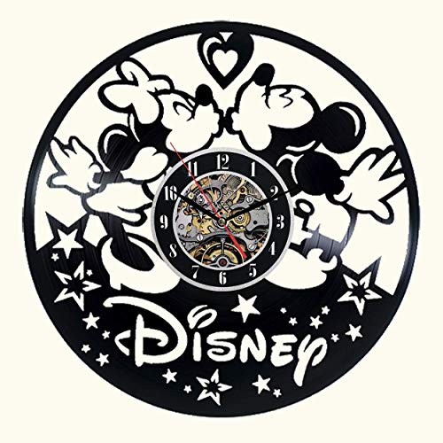 Meet Beauty Ding Niedliche Mickey Mouse Disney Anime Vinyl Record Wanduhr kreative Kinderzimmer Kunst Dekor - einzigartige handgefertigte Geschenkidee für Jungen Mädchen Halloween Weihnachten