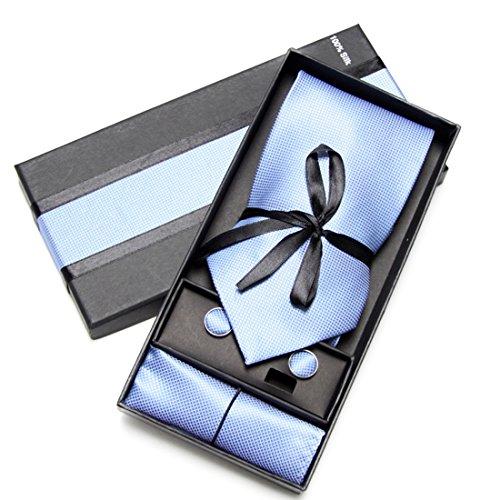 Cravatta, Fazzoletto e Gemelli Azzurro (Casella di Lusso), 100% Seta - Oxford Collection -