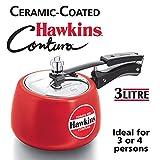 Hawkins Contura Ceramic Coated Pressure Cooker, 3 Litres, Tomato Red