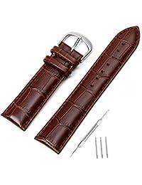 mysunny Hombre y Mujer Correa Reloj de Cuero Genuino Repuesto Compatible Con Relojes Moda/Smartwatch Hebilla de Aguja De Acero Inoxidable Marrón 20mm(14mm/16mm/18mm/20mm/22mm/24mm)