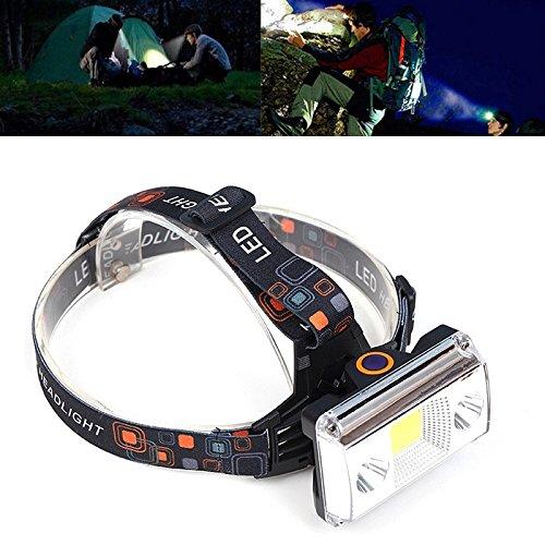 Torcia frontale,10000 lumen cob led torcia usb ricarica faro tattico 4-mode torcia elettrica per bicicletta caccia luce frontale