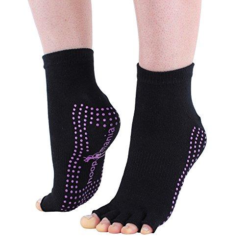 Hoopomania® Half Toe Yogasocken mit Antirutsch-Effekt durch Gumminoppen in schwarz, Größe M (39-41)