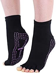 Hoopomania® chaussettes de yoga Half Toe avec effet antidérapant par des picots en caoutchouc, noir, tailles: S (35-38) ou M (39-41)