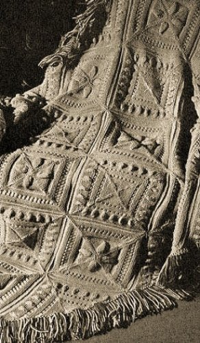 SCULPTURED BLOCK KNITTED AFGHAN - A Vintage 1947 Knitting Pattern ~ Kindle eBook Download (knit, knitted, blanket, throw, crafts, diy) (English Edition)