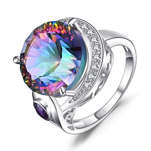 licher Regenbogen Quarz Echter Amethyst Cocktail Ring 925 Sterling Silber ()