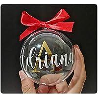 Bolas de Navidad Personalizadas -Pack de 5 - Rellenables - Transparentes - Metacrilato8cm-De diseño - Con lazo rojo