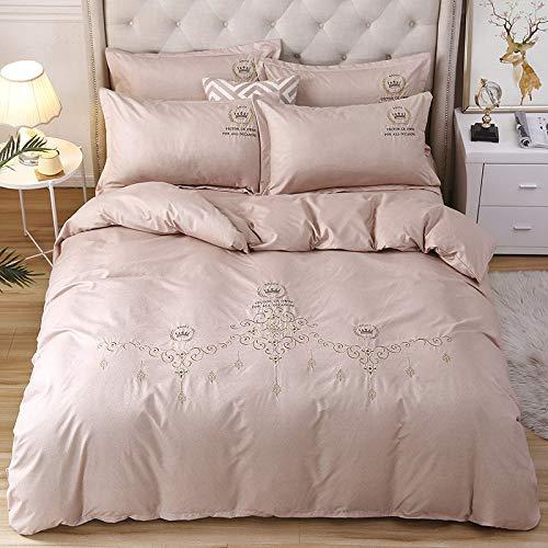 yaonuli 4-teiliges Bettbezugset aus besticktem Kaschmir mit Baumwollsand in der Farbe Karminrot 2,0 m (Bettbezug 220X240)