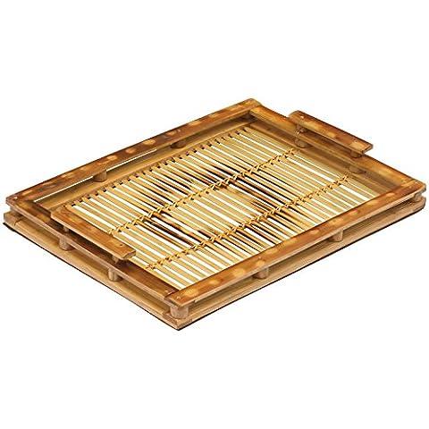 SouvNear bandeja de bambú/bandeja para servir con mango 17x 10Eco-friendly Servicio bandeja organizadores para baño counter-tops/mesilla de noche Tables/café mesas/dressing Tables