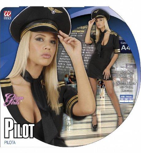 Widmann 77111 - Erwachsenenkostüm Pilotin, Kleid mit Halstuch und Hut -