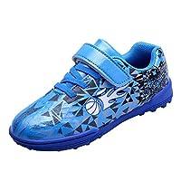 Kids' Voetbalschoenen, Teenage Student Football Training Shoes Zelfklevende Anti-Slip Boy Girl Outdoor Sneakers,Blue,33EU