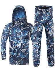 aiqi Unisex camuflaje ciclismo al aire libre impermeable chubasquero chaqueta y pantalones de Set, hombre mujer, color camouflage, tamaño 4XL