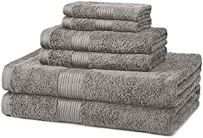 AmazonBasics Fade-Resistant Cotton 6-Piece Towel Set, Grey