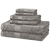 AmazonBasics 6-Piece Fade-Resistant Cotton Bath Towel Set - Grey