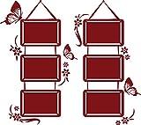 GRAZDesign 160016_57_030 Wandtattoo Bilderrahmen Blumen Schmetterlinge-Rahmen | Fotowand selbst gestalten (64x57cm // 030 dunkelrot)