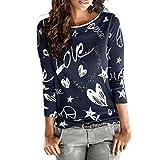VEMOW Heißer Frauen Damen Sommer Herbst Langarm Brief Gedruckt Hemd Beiläufige Bluse Lose Baumwolle Tops T-ShirtMarineEU-48/CN-2XL